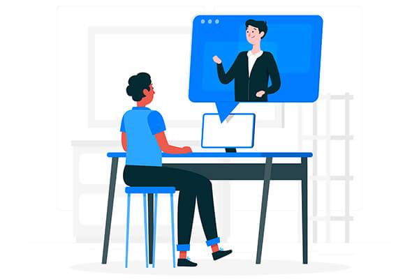 Ilustração de conferência online internacional sobre gagueira