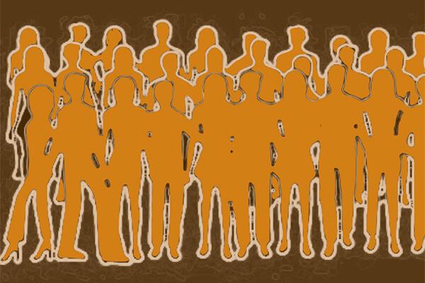 Ilustração com multidâo de pessoas