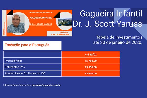 Tabela de investimentos - Gagueira Infantil com J. Scott Yaruss
