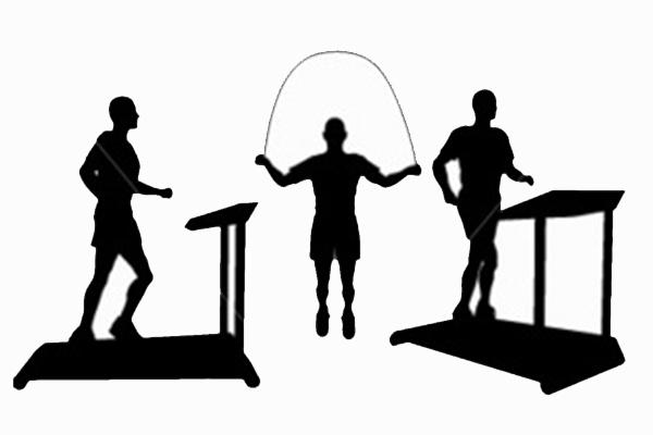 Pessoas fazendo exercícios físicos em academia.