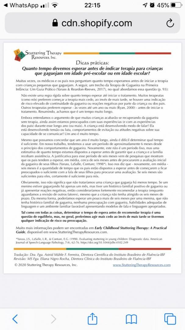 Página com a tradução feita pelo IBF de um folheto da Stuttering Therapy Resources